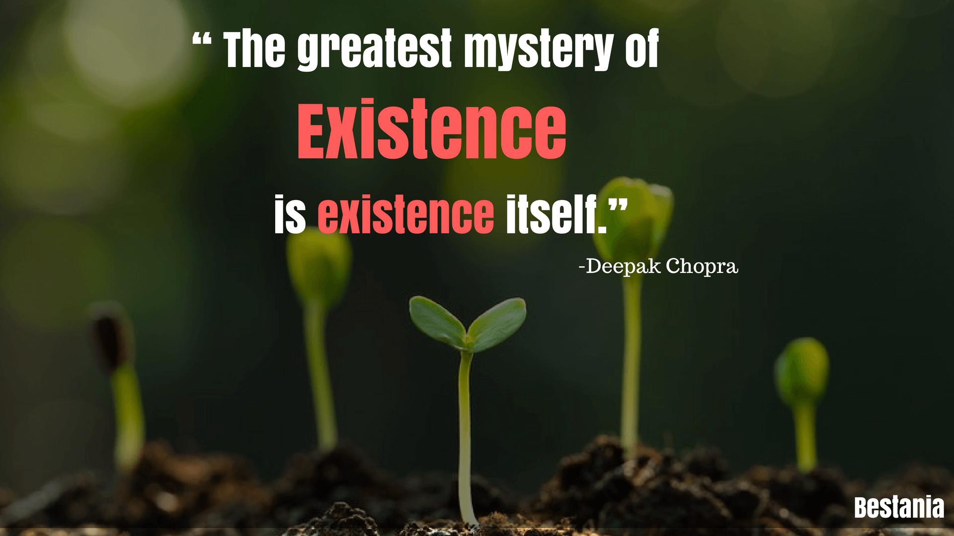 """THE GREATEST MYSTERY OF EXISTENCE IS EXISTENCE ITSELF."" – DEEPAK CHOPRA"