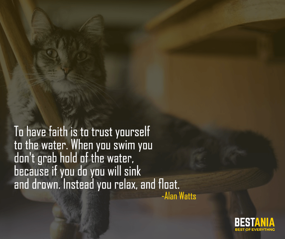 To have faith is to trust yourself to the water. When you swim you don't grab hold of the water,  because if you do you will sink and drown. Instead you relax, and float. Alan Watts