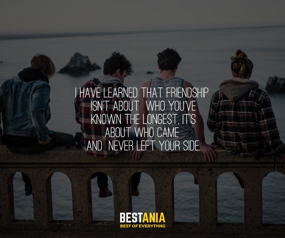 I have learned that friendship isn't about who you've known the longest, it's about who came and never left your side.