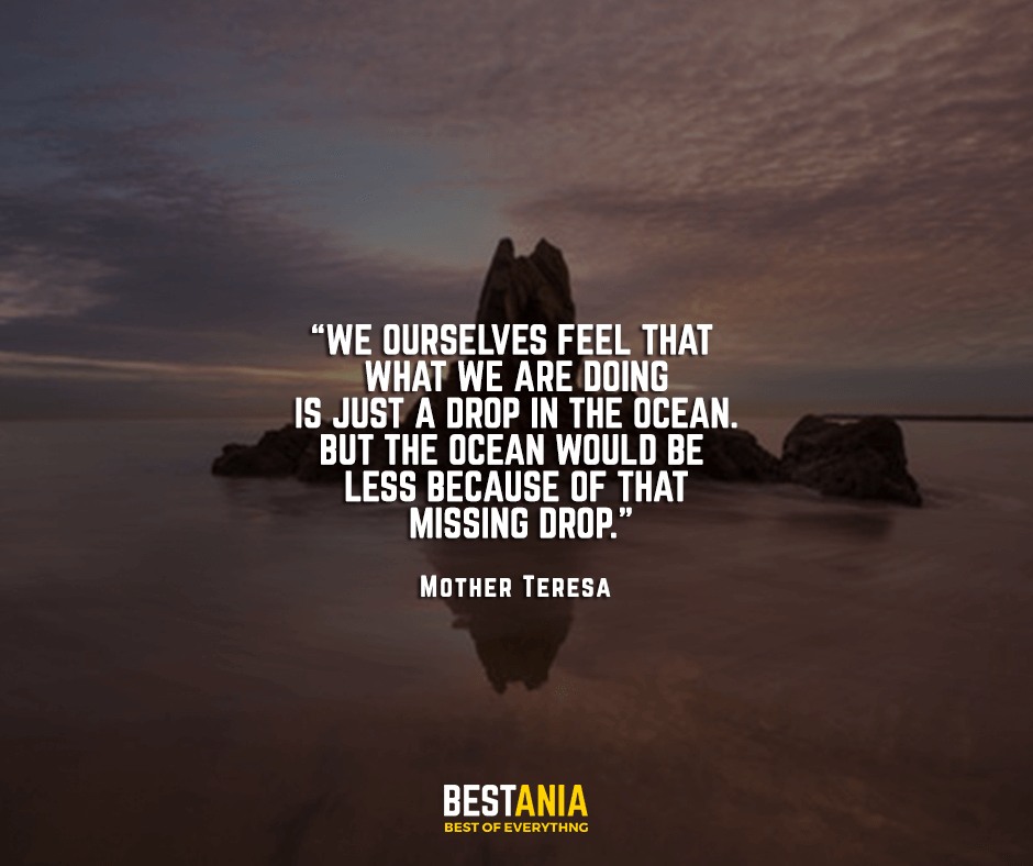 We ourselves feel that what we are doing is just a drop in the ocean. But the ocean would be less because of that missing drop. Mother Teresa