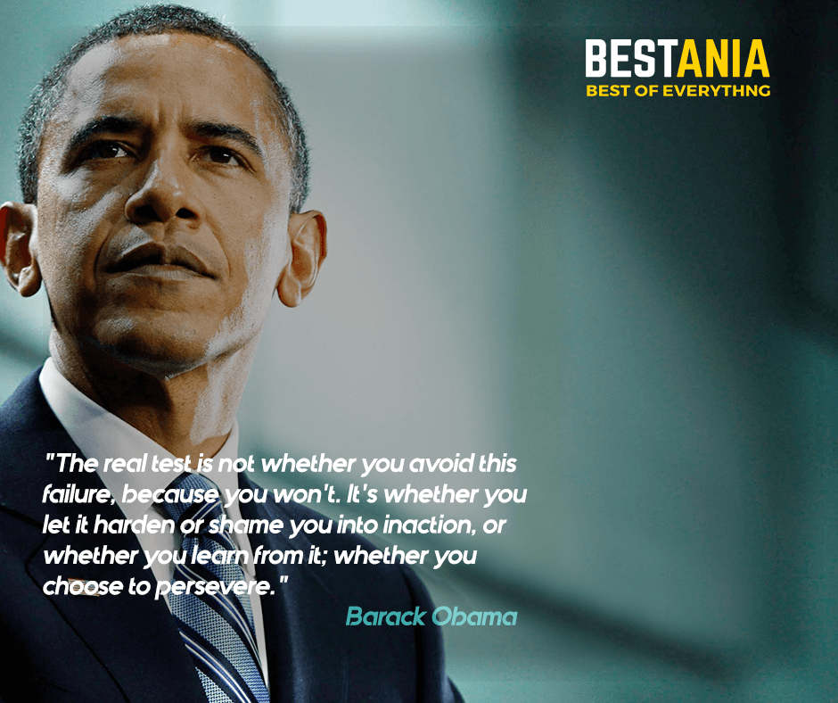 """""""The real test is not whether you avoid this failure because you won't. It's whether you let it harden or shame you into inaction, or whether you learn from it; whether you choose to persevere."""" Barack Obama"""