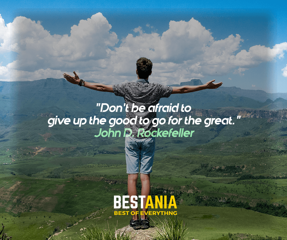 """""""Don't be afraid to give up the good to go for the great."""" John D. Rockefeller"""