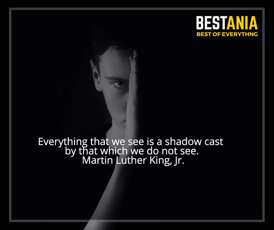 """Everything that we see is a shadow cast by that which we do not see"" Martin Luther King, Jr."