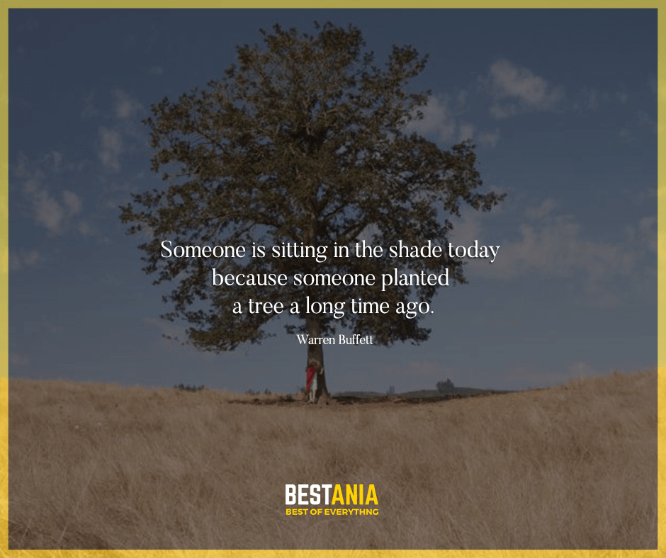 """Someone is sitting in the shade today because someone planted a tree a long time ago."" Warren Buffett"