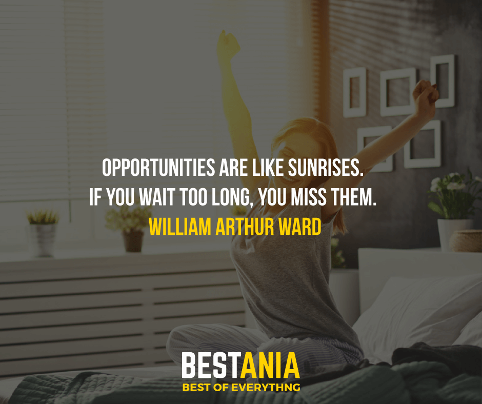 """OPPORTUNITIES ARE LIKE SUNRISES. IF YOU WAIT TOO LONG, YOU MISS THEM.""  WILLIAM ARTHUR WARD"