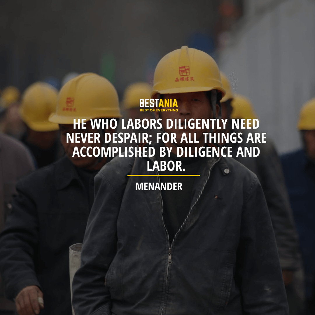 """""""HE WHO LABORS DILIGENTLY NEED NEVER DESPAIR; FOR ALL THINGS ARE ACCOMPLISHED BY DILIGENCE AND LABOR.""""   MENANDER"""
