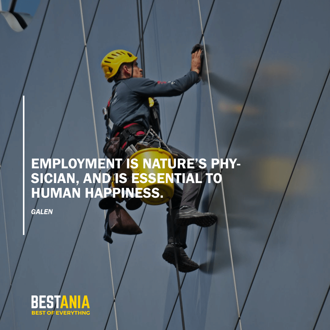"""EMPLOYMENT IS NATURE'S PHYSICIAN AND IS ESSENTIAL TO HUMAN HAPPINESS.""       GALEN"