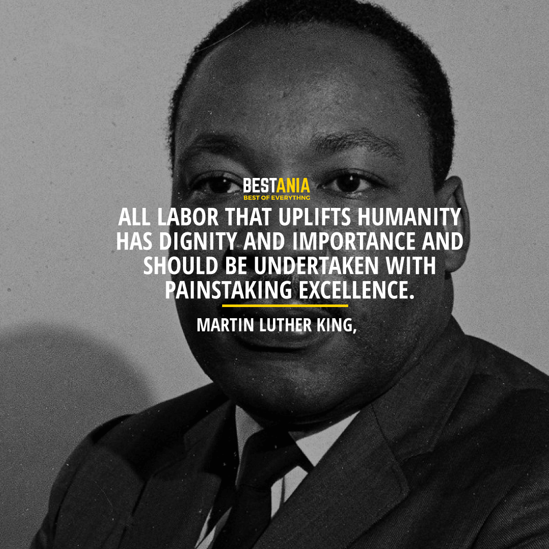 """""""ALL LABOR THAT UPLIFTS HUMANITY HAS DIGNITY AND IMPORTANCE AND SHOULD BE UNDERTAKEN WITH PAINSTAKING EXCELLENCE.""""  MARTIN LUTHER KING, JR."""