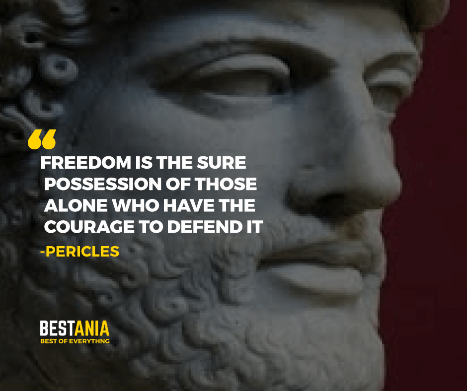 """FREEDOM IS THE SURE POSSESSION OF THOSE ALONE WHO HAVE THE COURAGE TO DEFEND IT.""    PERICLES"