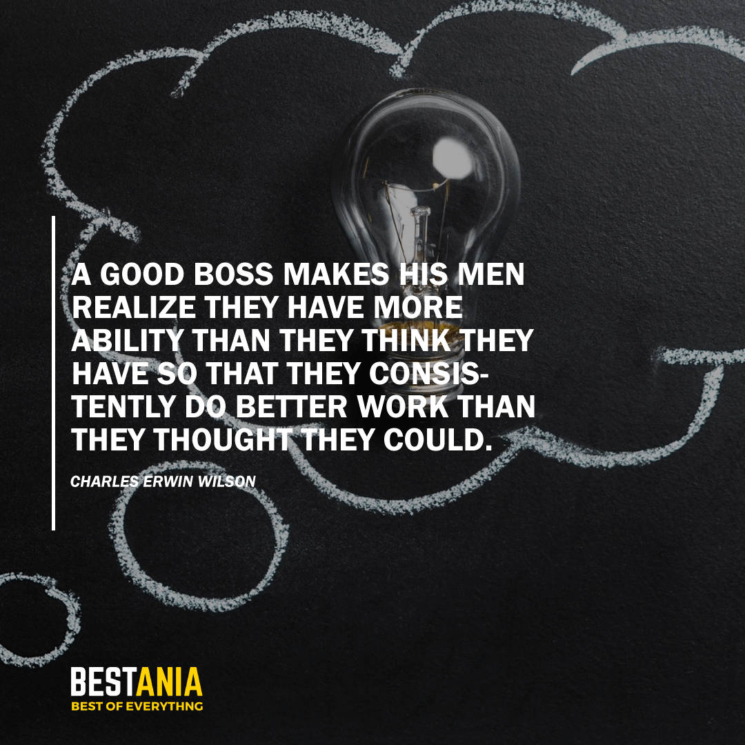 """A GOOD BOSS MAKES HIS MEN REALIZE THEY HAVE MORE ABILITY THAN THEY THINK THEY HAVE SO THAT THEY CONSISTENTLY DO BETTER WORK THAN THEY THOUGHT THEY COULD."" CHARLES ERWIN WILSON"