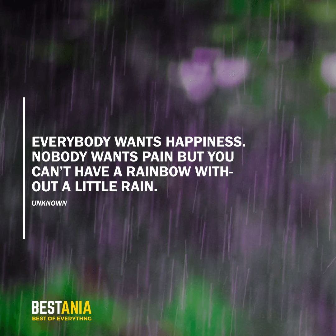 """EVERYBODY WANTS HAPPINESS. NOBODY WANTS PAIN BUT YOU CAN'T HAVE A RAINBOW WITHOUT A LITTLE RAIN."" UNKNOWN"