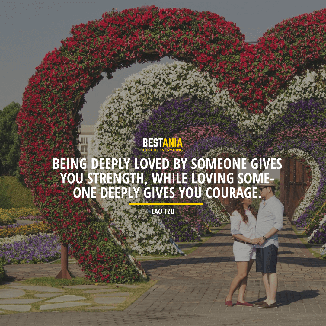 """BEING DEEPLY LOVED BY SOMEONE GIVES YOU STRENGTH WHILE LOVING SOMEONE DEEPLY GIVES YOU COURAGE. ""  ~ LAO TZU"