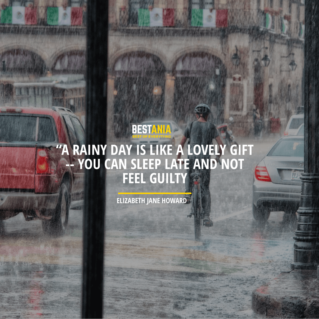 """A RAINY DAY IS LIKE A LOVELY GIFT -- YOU CAN SLEEP LATE AND NOT FEEL GUILTY."" ― ELIZABETH JANE HOWARD,"