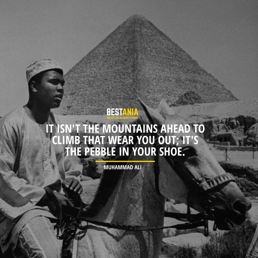 """IT ISN'T THE MOUNTAINS AHEAD TO CLIMB THAT WEAR YOU OUT; IT'S THE PEBBLE IN YOUR SHOE."" MUHAMMAD ALI"