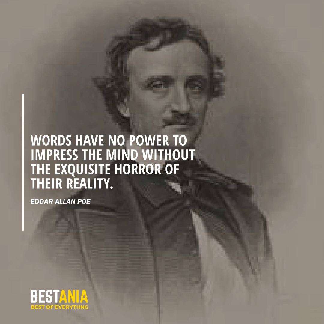"""""""Words have no power to impress the mind without the exquisite horror of their reality.""""  Edgar Allan Poe"""