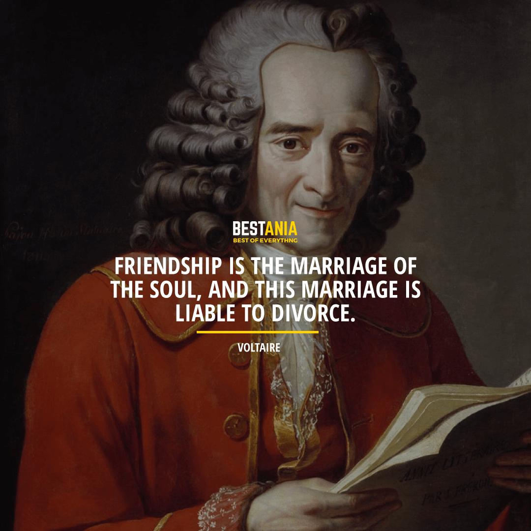 """FRIENDSHIP IS THE MARRIAGE OF THE SOUL, AND THIS MARRIAGE IS LIABLE TO DIVORCE.""  VOLTAIRE"