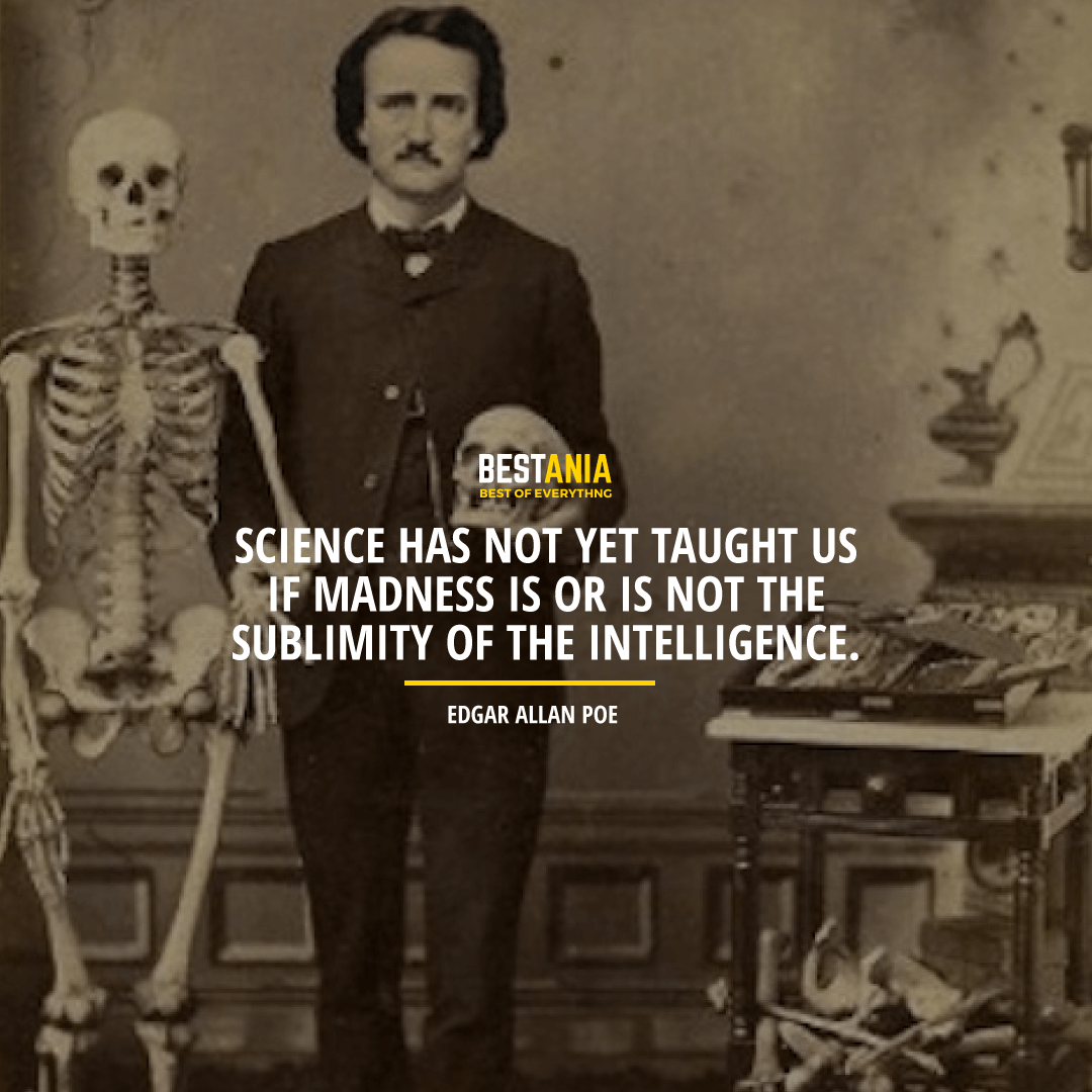 """""""SCIENCE HAS NOT YET TAUGHT US IF MADNESS IS OR IS NOT THE SUBLIMITY OF THE INTELLIGENCE. """"  EDGAR ALLAN POE"""