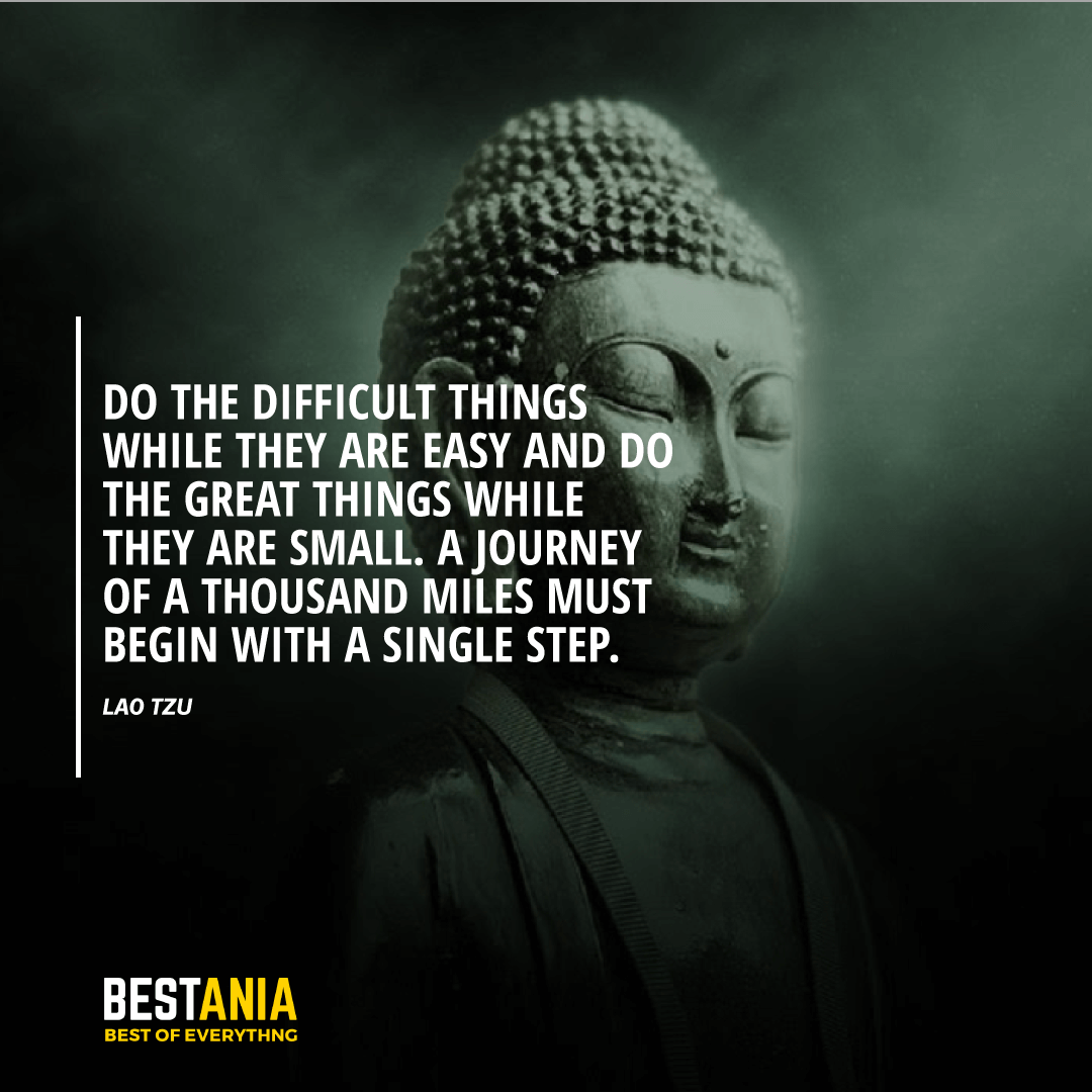 """DO THE DIFFICULT THINGS WHILE THEY ARE EASY AND DO THE GREAT THINGS WHILE THEY ARE SMALL. A JOURNEY OF A THOUSAND MILES MUST BEGIN WITH A SINGLE STEP.""  LAO TZU"