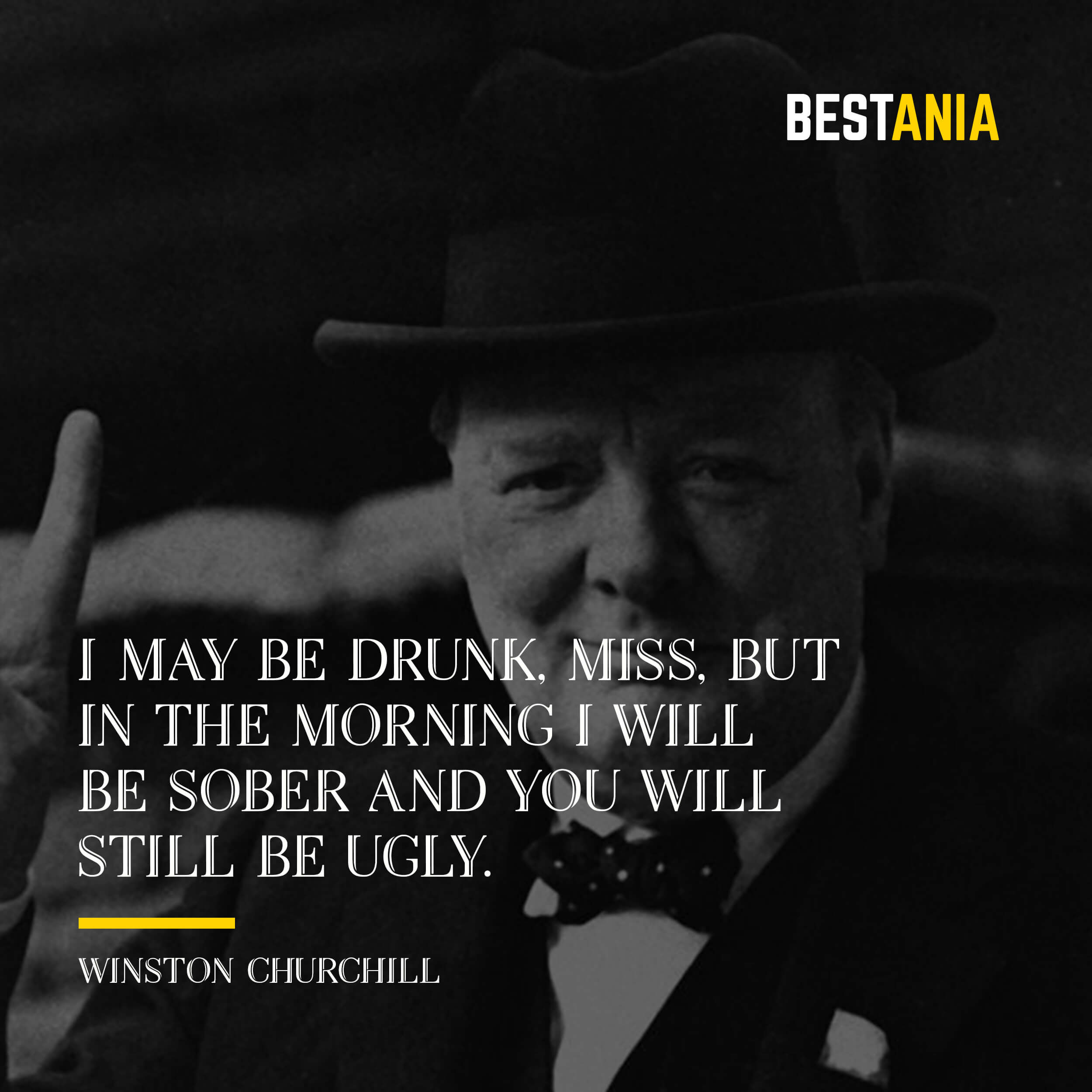 """I MAY BE DRUNK, MISS, BUT IN THE MORNING I WILL BE SOBER AND YOU WILL STILL BE UGLY.""  WINSTON CHURCHILL"