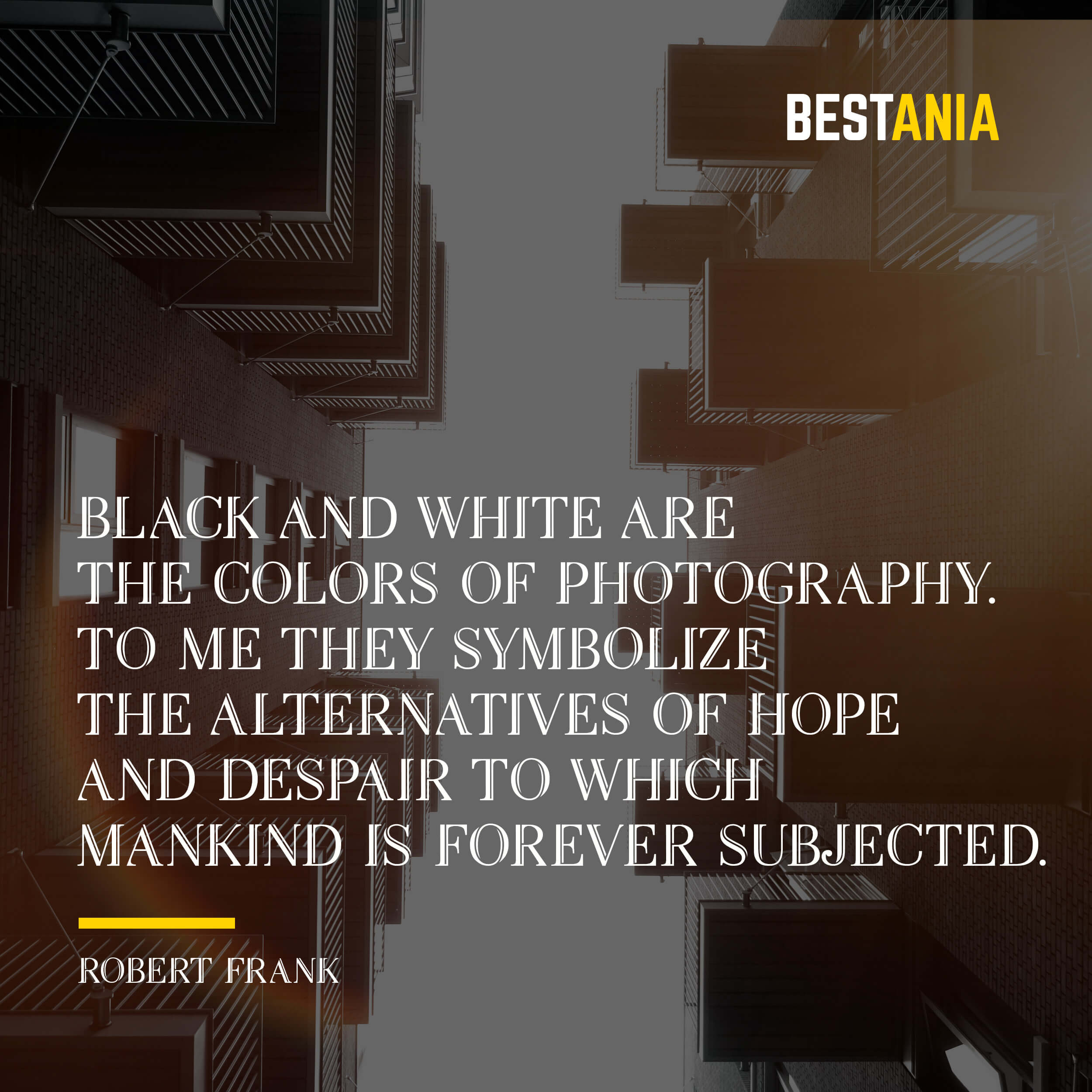 """""""BLACK AND WHITE ARE THE COLORS OF PHOTOGRAPHY. TO ME, THEY SYMBOLIZE THE ALTERNATIVES OF HOPE AND DESPAIR TO WHICH MANKIND IS FOREVER SUBJECTED."""" ROBERT FRANK"""
