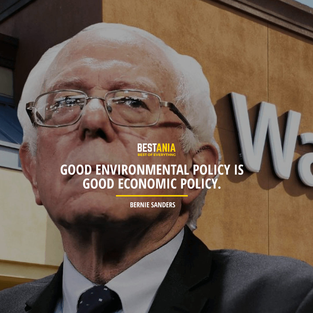 """GOOD ENVIRONMENTAL POLICY IS GOOD ECONOMIC POLICY."" BERNIE SANDERS"