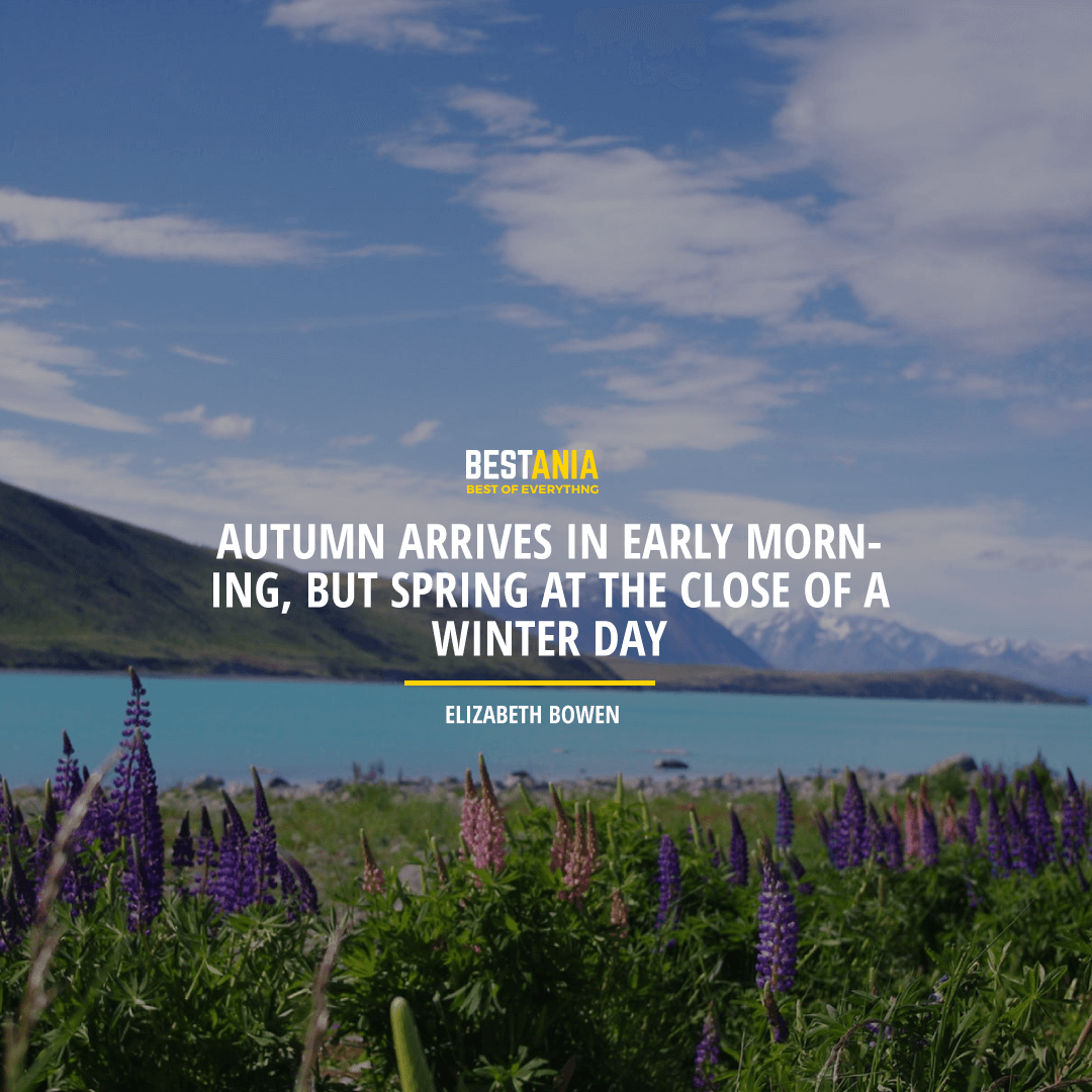 """AUTUMN ARRIVES IN EARLY MORNING, BUT SPRING AT THE CLOSE OF A WINTER DAY."" ELIZABETH BOWEN"