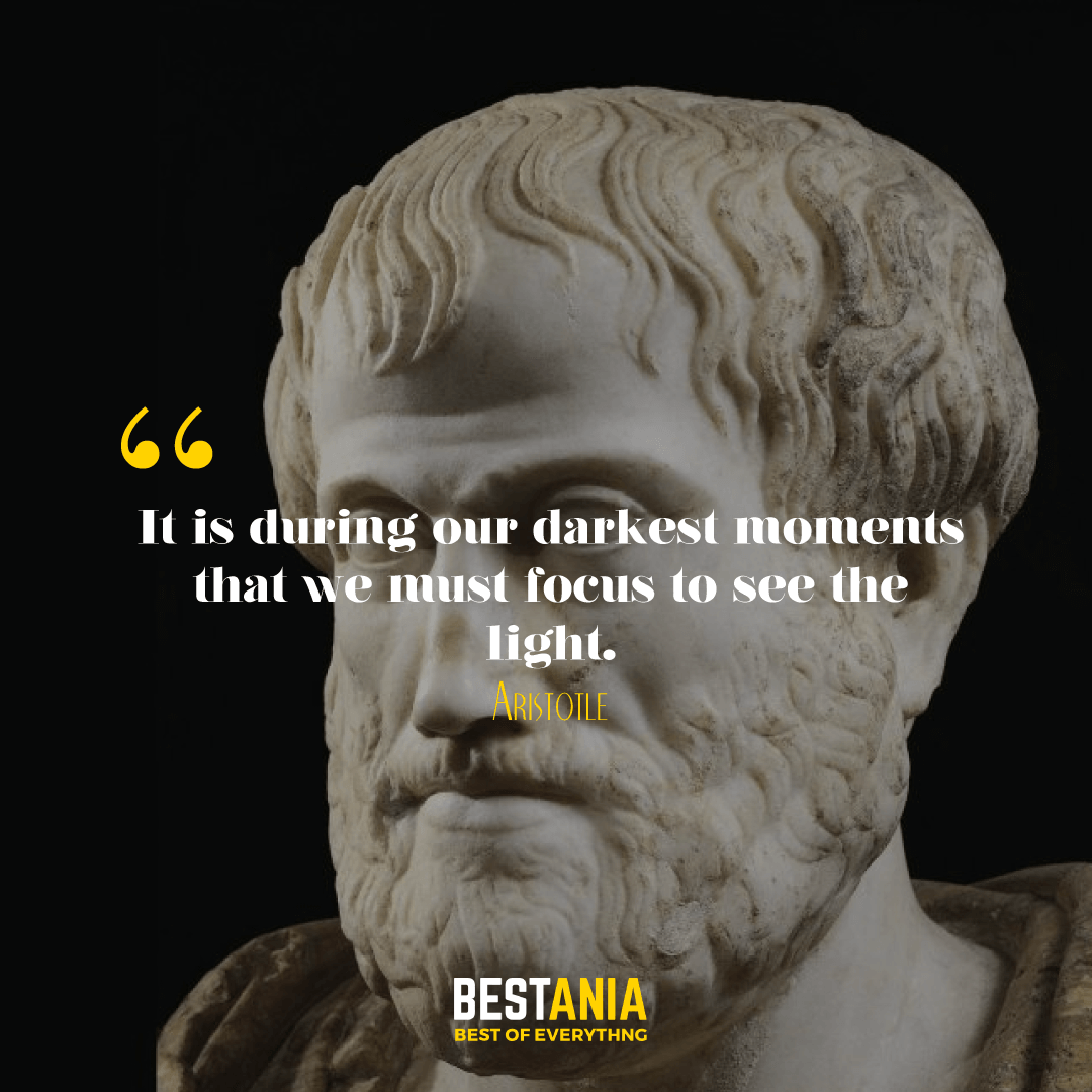 It is during our darkest moments that we must focus to see the light. Aristotle