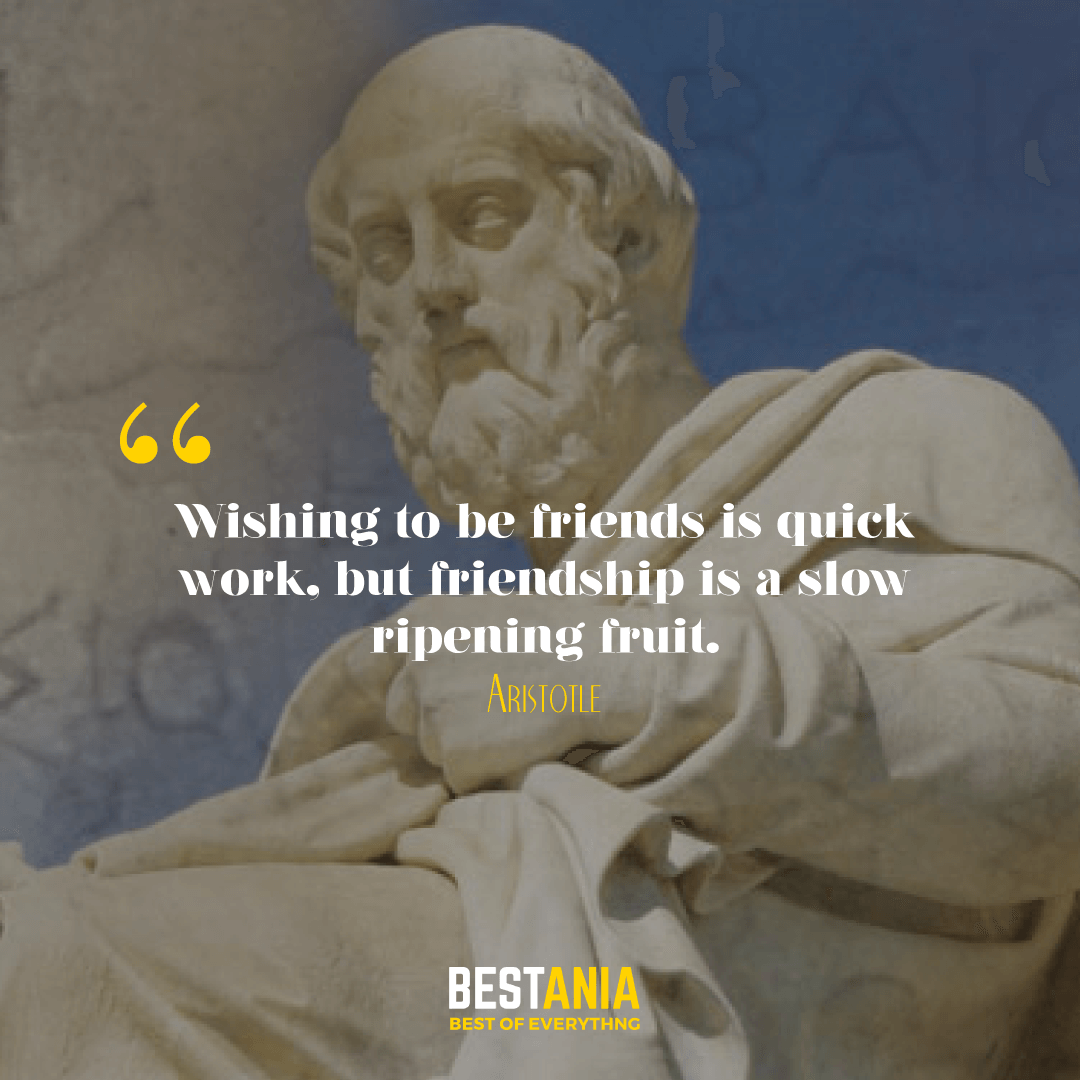 Wishing to be friends is quick work, but friendship is a slow ripening fruit. Aristotle