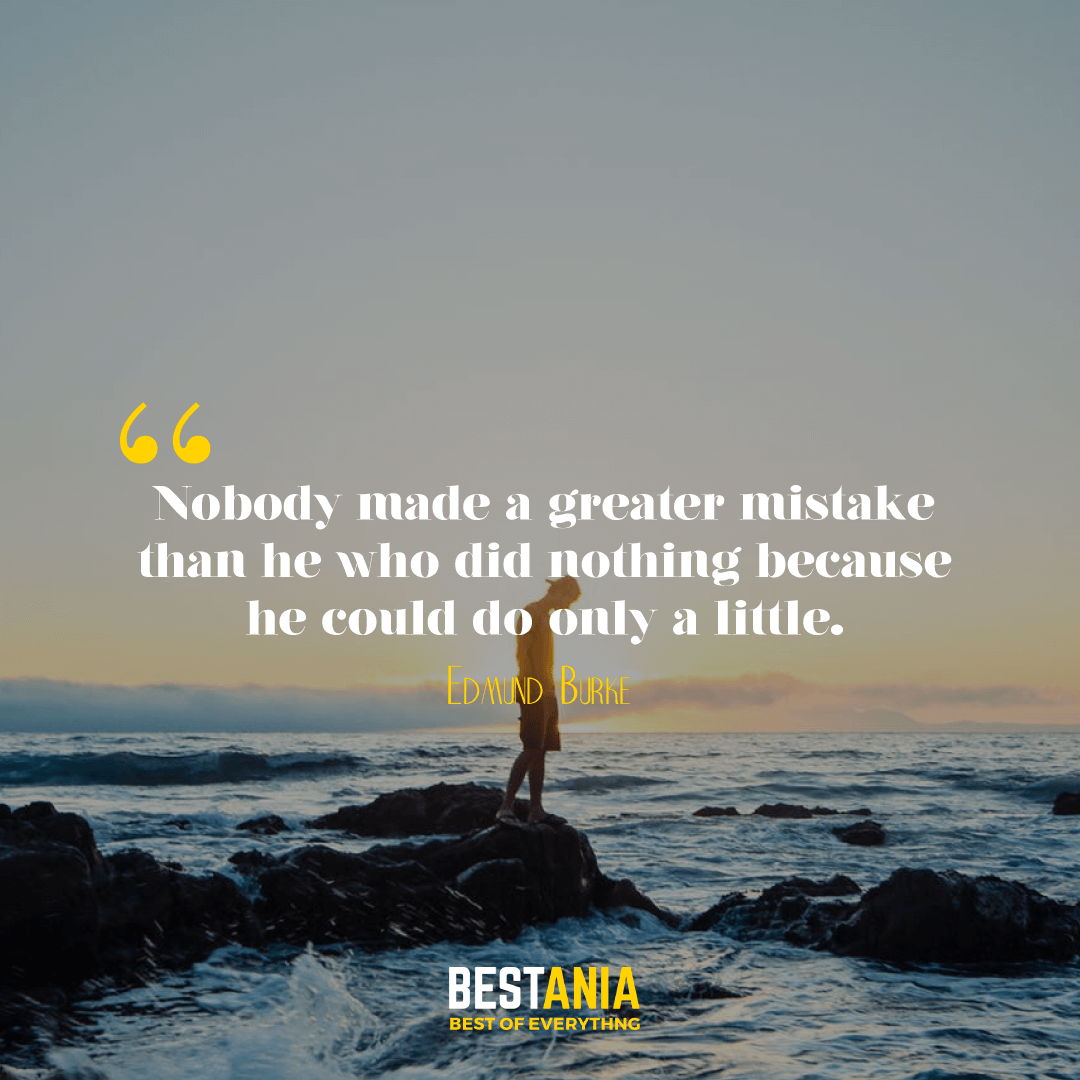 Nobody made a greater mistake than he who did nothing because he could do only a little. Edmund Burke…………