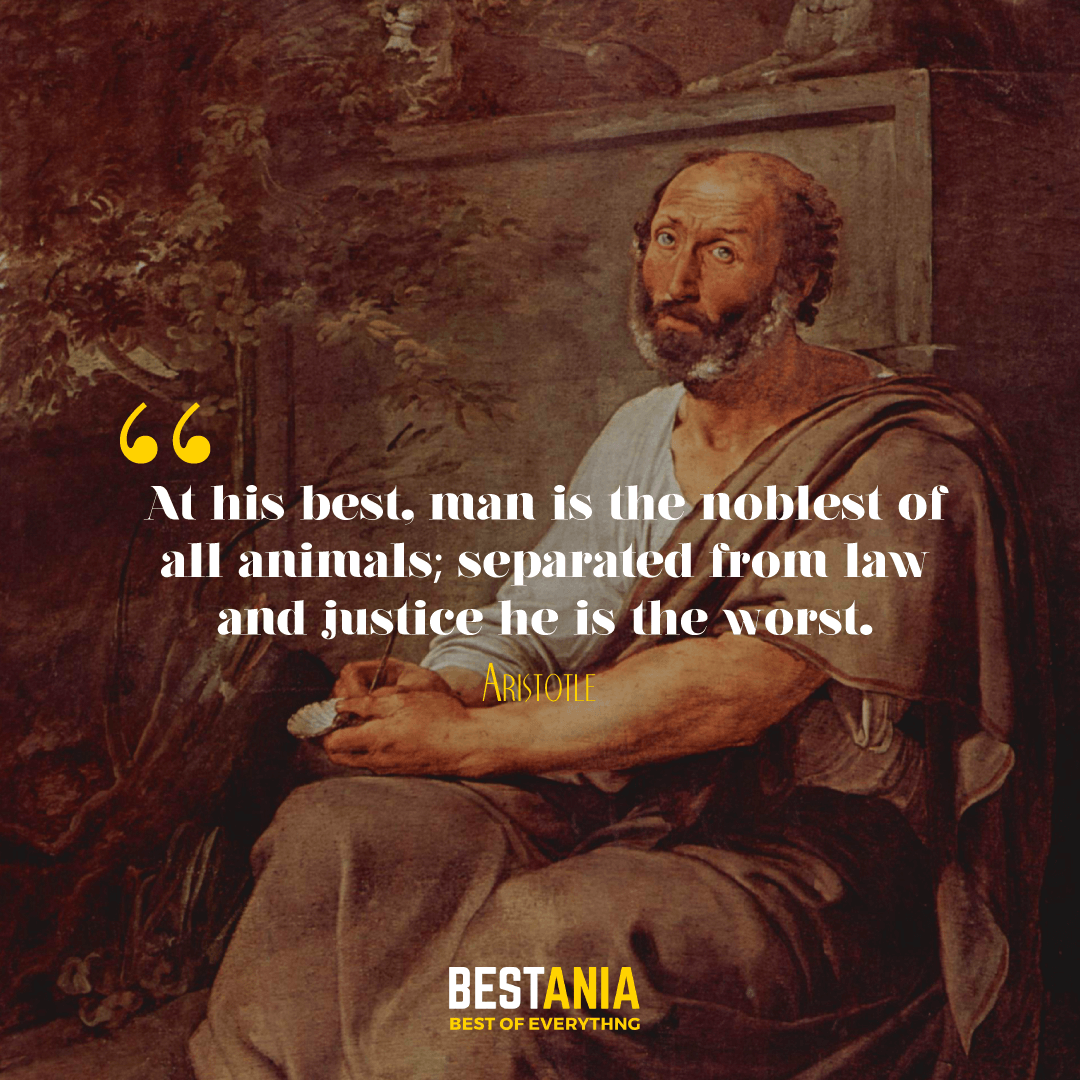 At his best, man is the noblest of all animals; separated from law and justice he is the worst. Aristotle