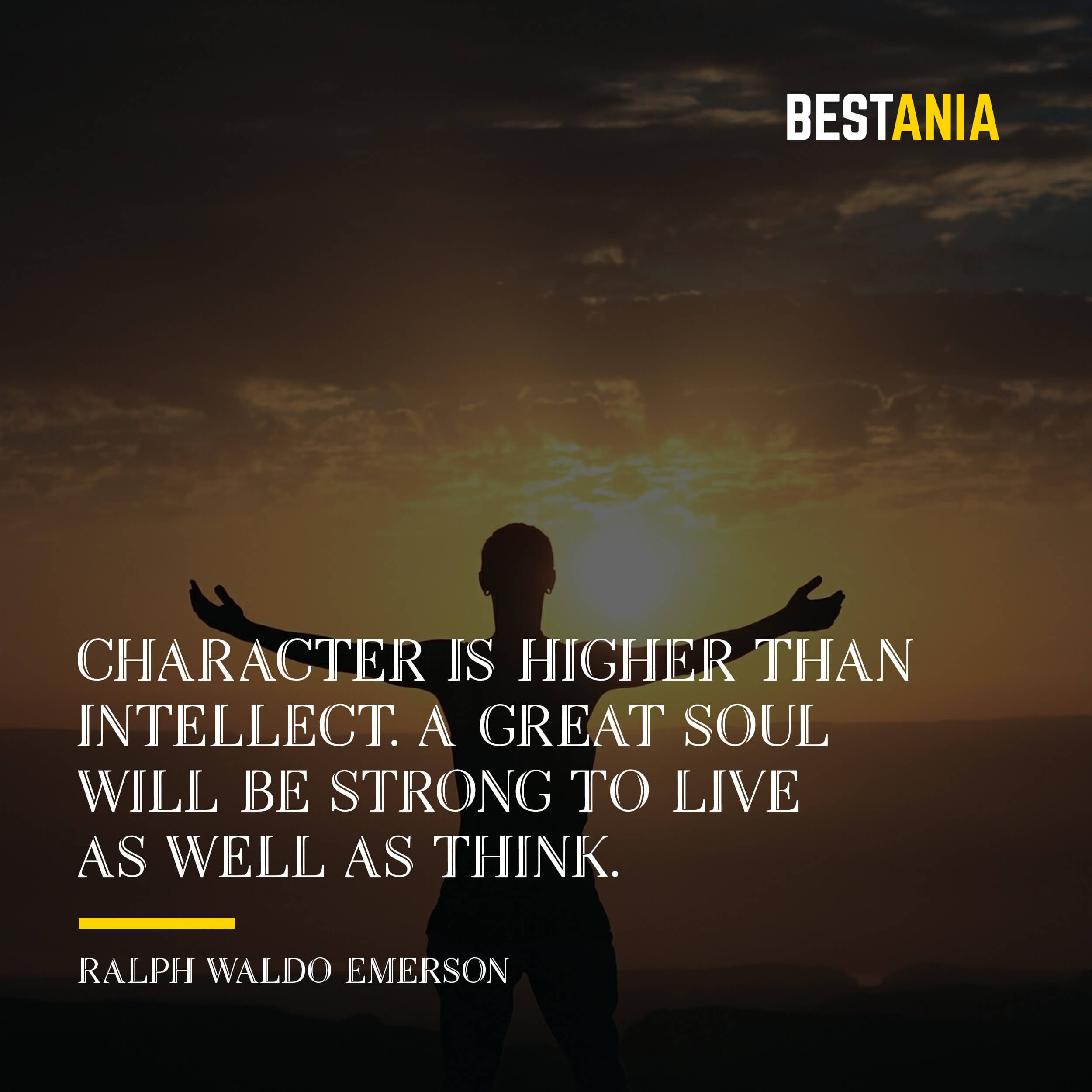 """A CHARACTER IS HIGHER THAN INTELLECT. A GREAT SOUL WILL BE STRONG TO LIVE AS WELL AS THINK."" RALPH WALDO EMERSON"