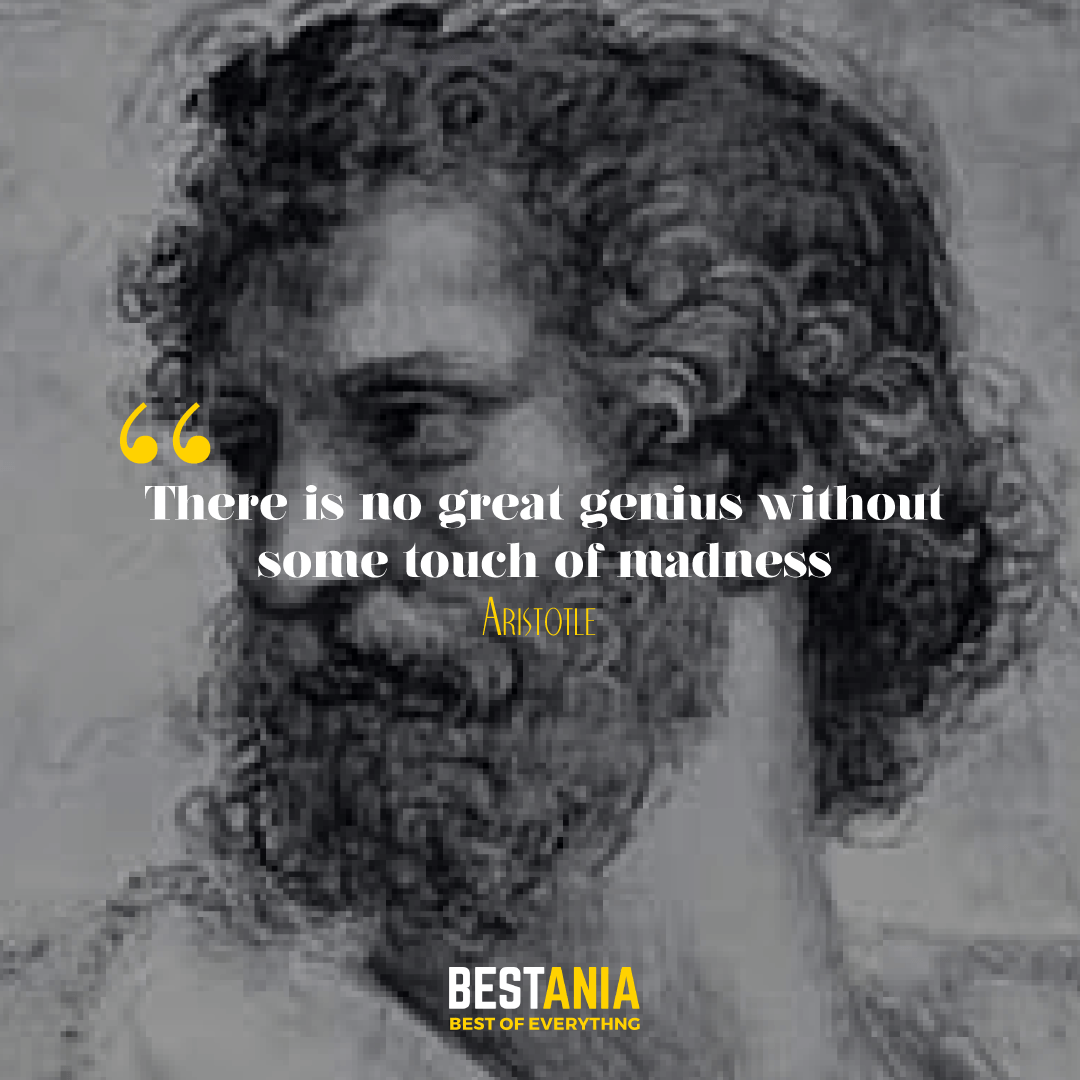 There is no great genius without some touch of madness. Aristotle