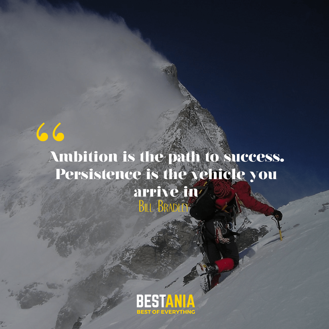 """""""Ambition is the path to success. Persistence is the vehicle you arrive in."""" --Bill Bradley"""