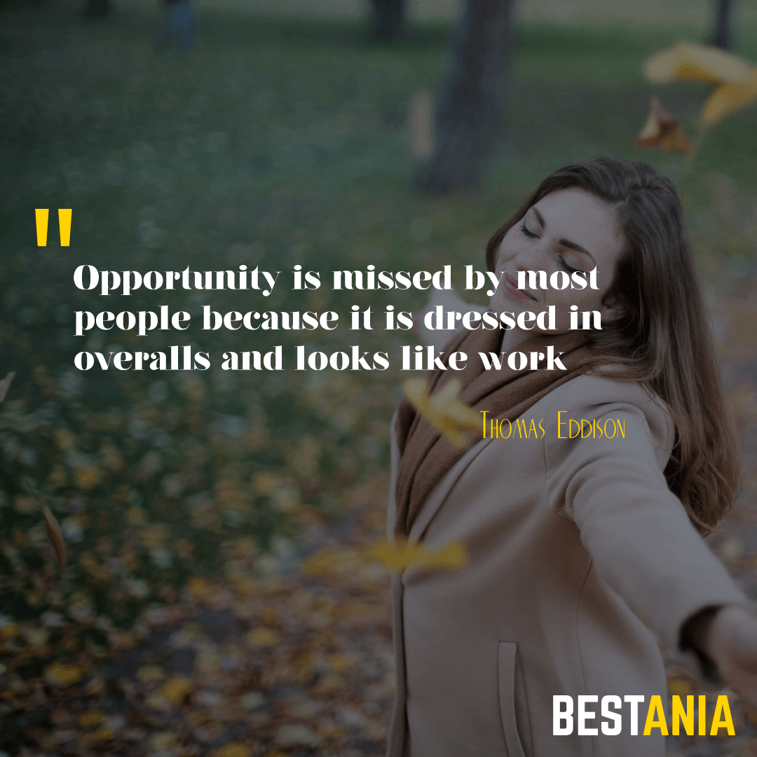 Opportunity is missed by most people because it is dressed in overalls and looks like work.Thomas Eddison