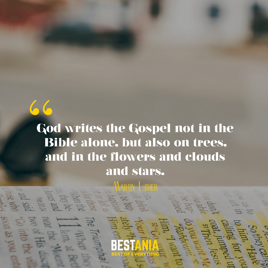 God writes the Gospel not in the Bible alone, but also on trees, and in the flowers and clouds and stars. Martin Luther