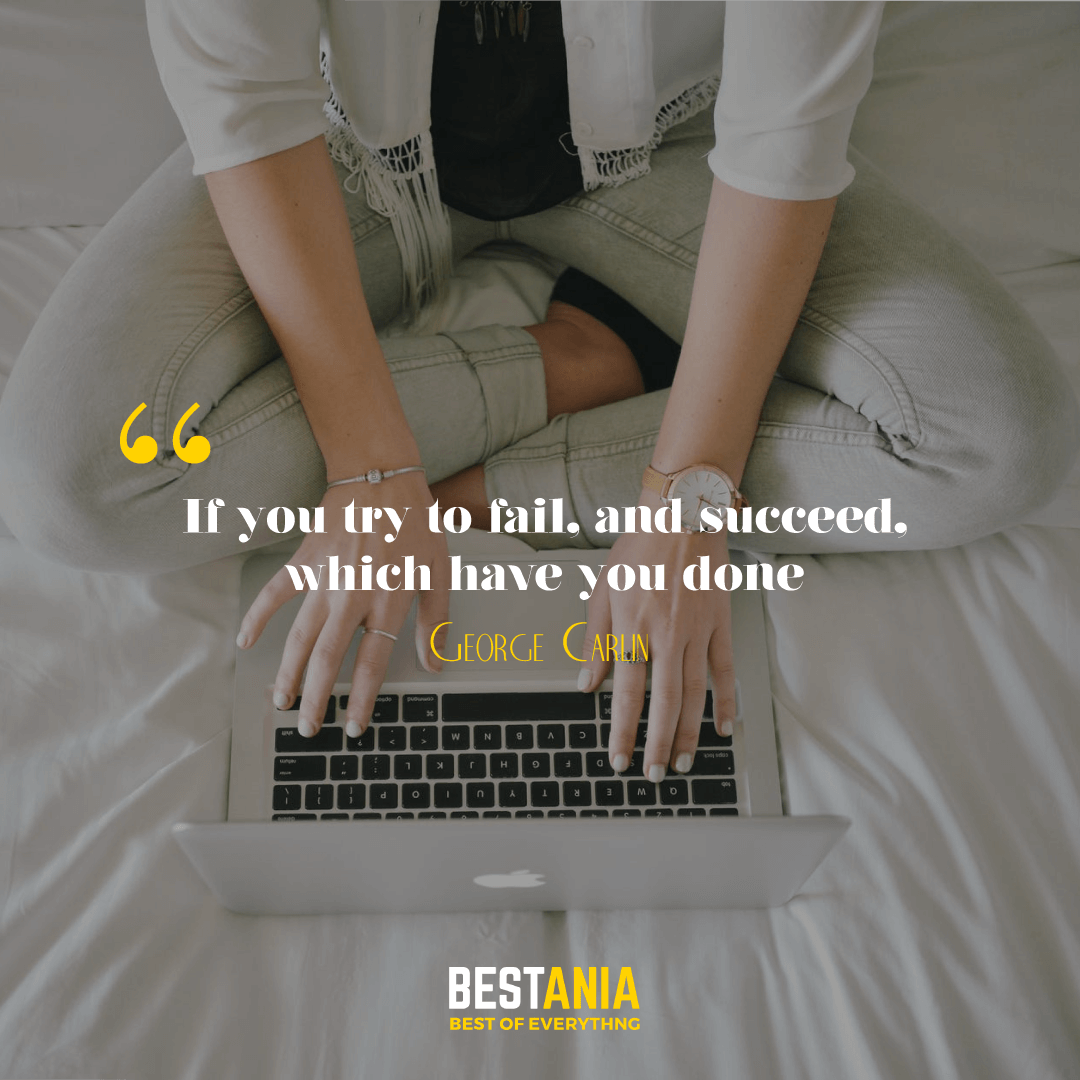 If you try to fail, and succeed, which have you done? George Carlin