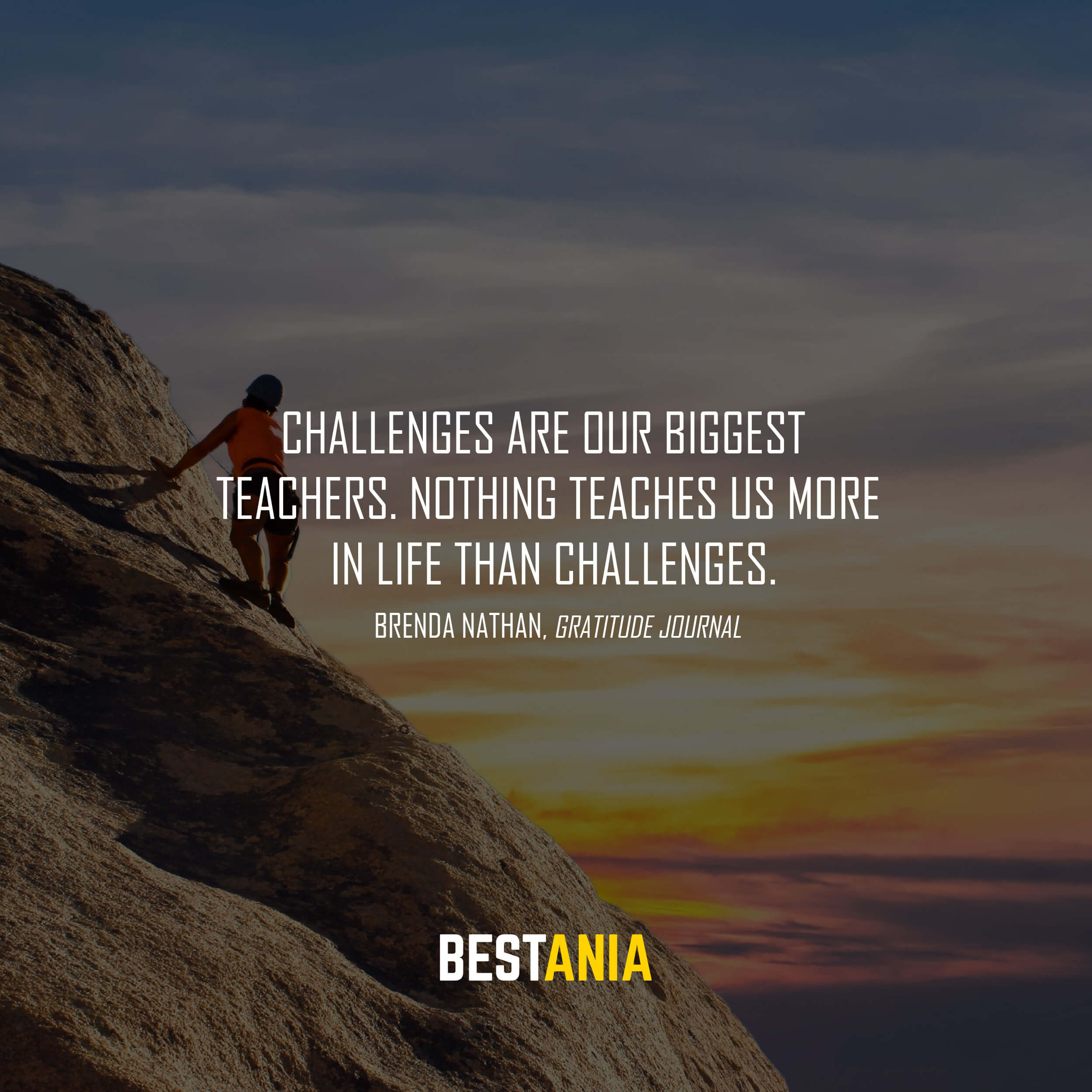 """Challenges are our biggest teachers. Nothing teaches us more in life than challenges."" Brenda Nathan, Gratitude Journal"