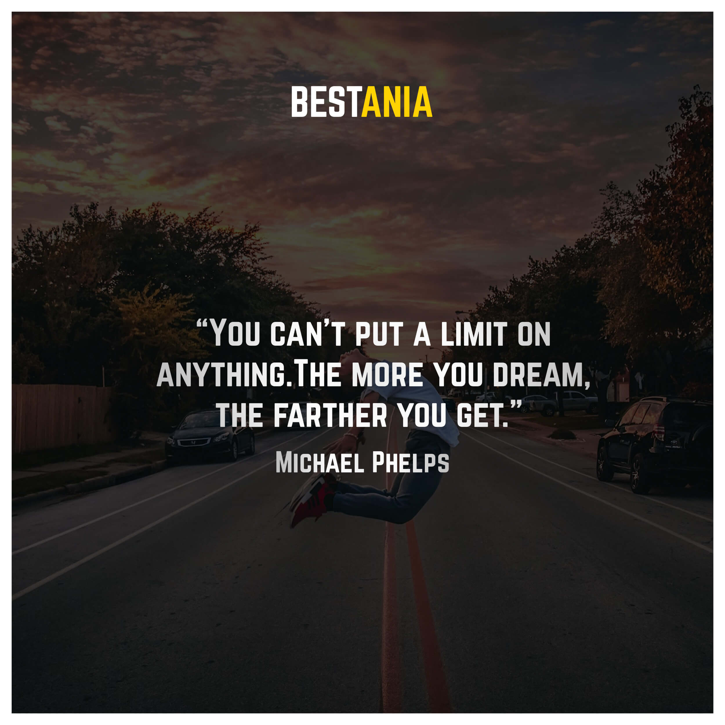 """You can't put a limit on anything. The more you dream, the farther you get."" – Michael Phelps"