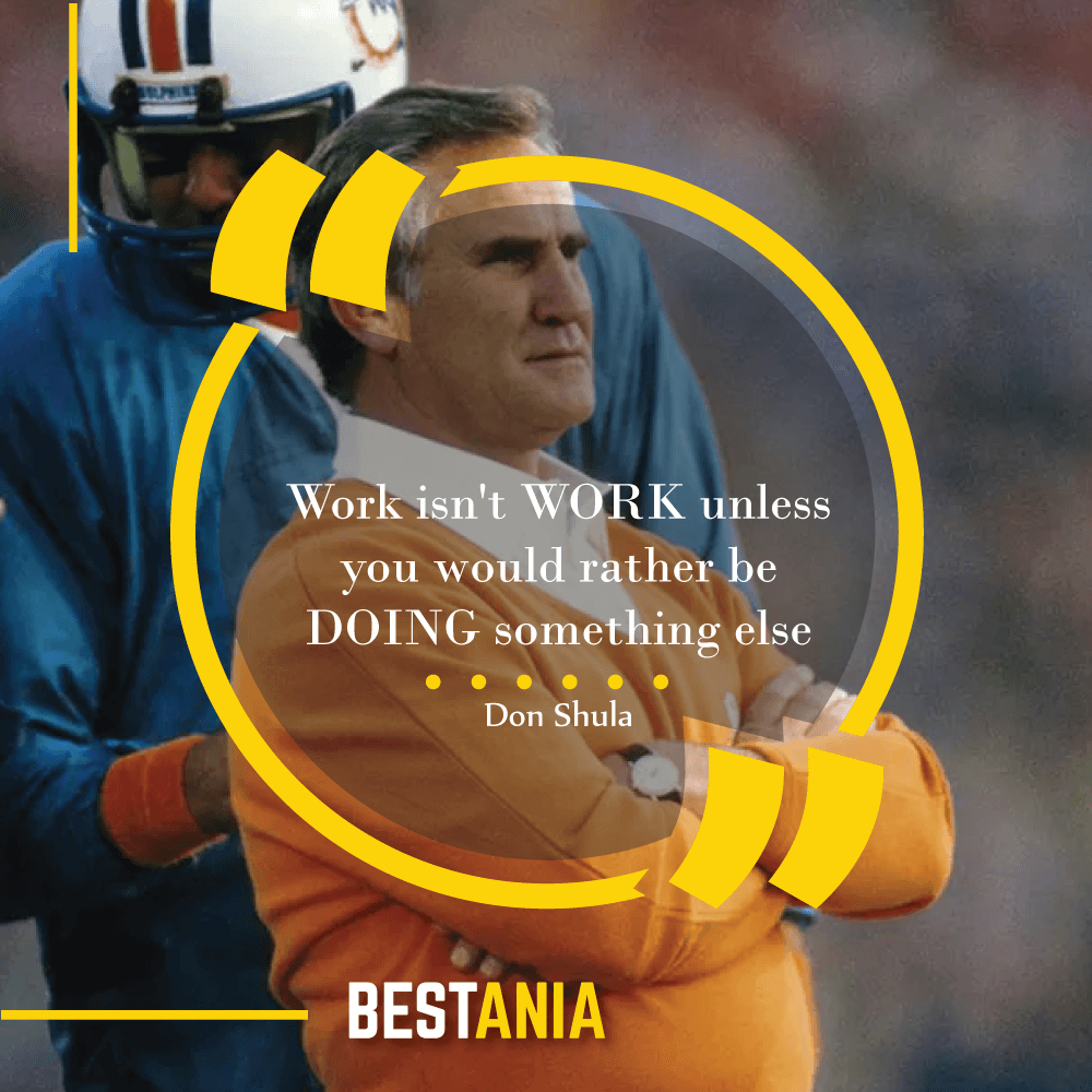 """Work isn't WORK unless you would rather be DOING something else,""--Don Shula, Miami Dolphins"