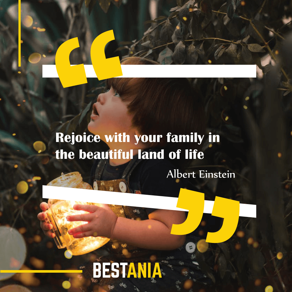 """Rejoice with your family in the beautiful land of life."" Albert Einstein\"