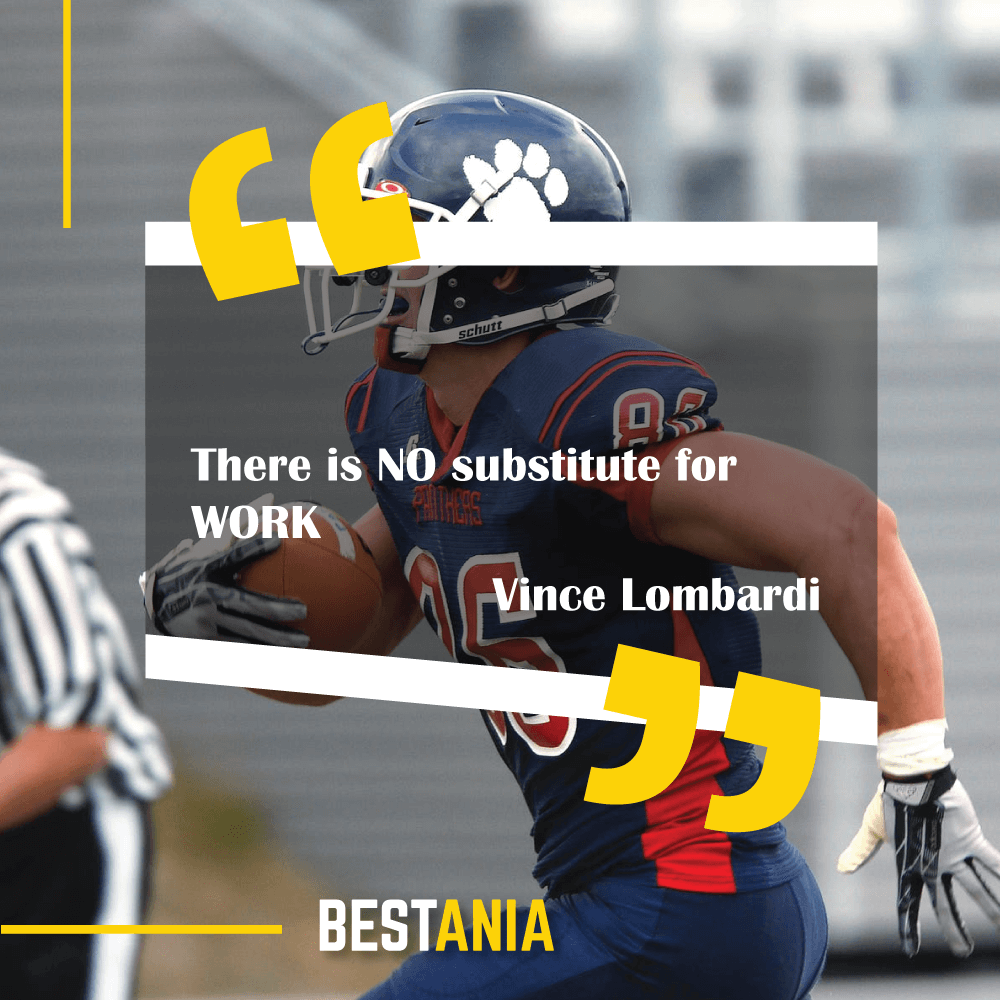 """There is NO substitute for WORK.""--Vince Lombardi"