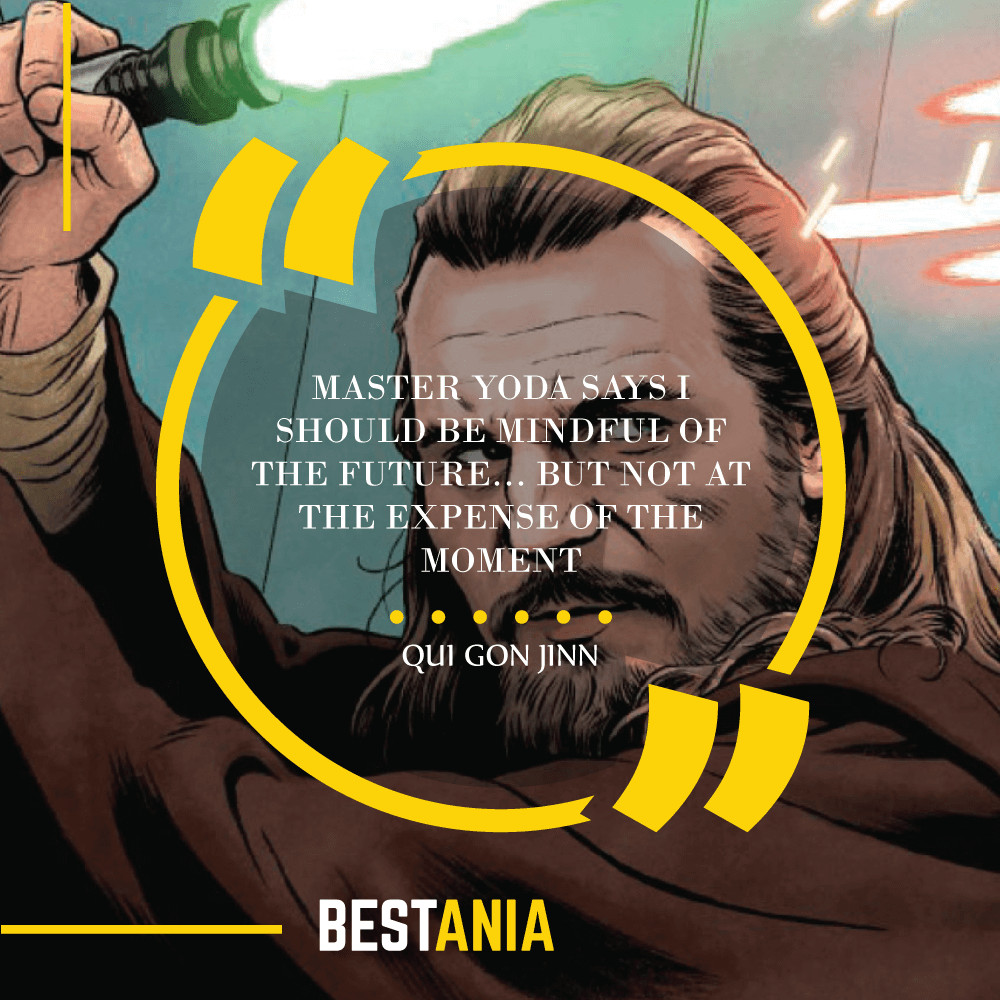 """""""MASTER YODA SAYS I SHOULD BE MINDFUL OF THE FUTURE… BUT NOT AT THE EXPENSE OF THE MOMENT."""" – QUI GON JINN"""