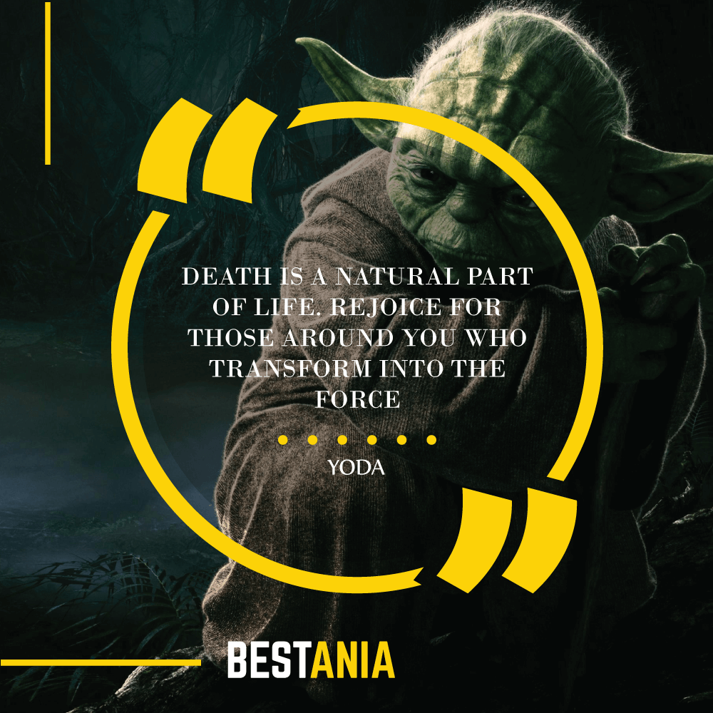 """""""DEATH IS A NATURAL PART OF LIFE. REJOICE FOR THOSE AROUND YOU WHO TRANSFORM INTO THE FORCE."""" – YODA"""