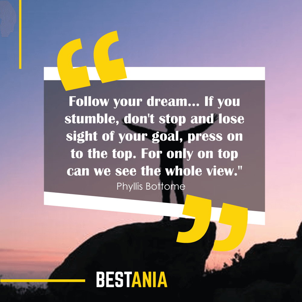 """""""Follow your dream... If you stumble, don't stop and lose sight of your goal, press on to the top. For only on top can we see the whole view."""" - Amanda Bradley"""